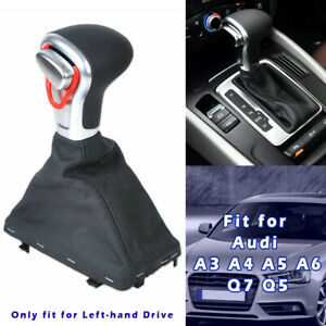 OE Black Chrome Gear Shift Knob with Leather Boot Gaiter For Audi A4 A6 C6 Q7 Q5