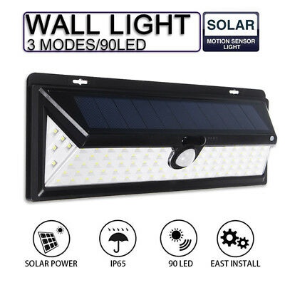 90LED Solar Power PIR Motion Sensor Wall Light Outdoor Yard Garden Lamp Waterpr