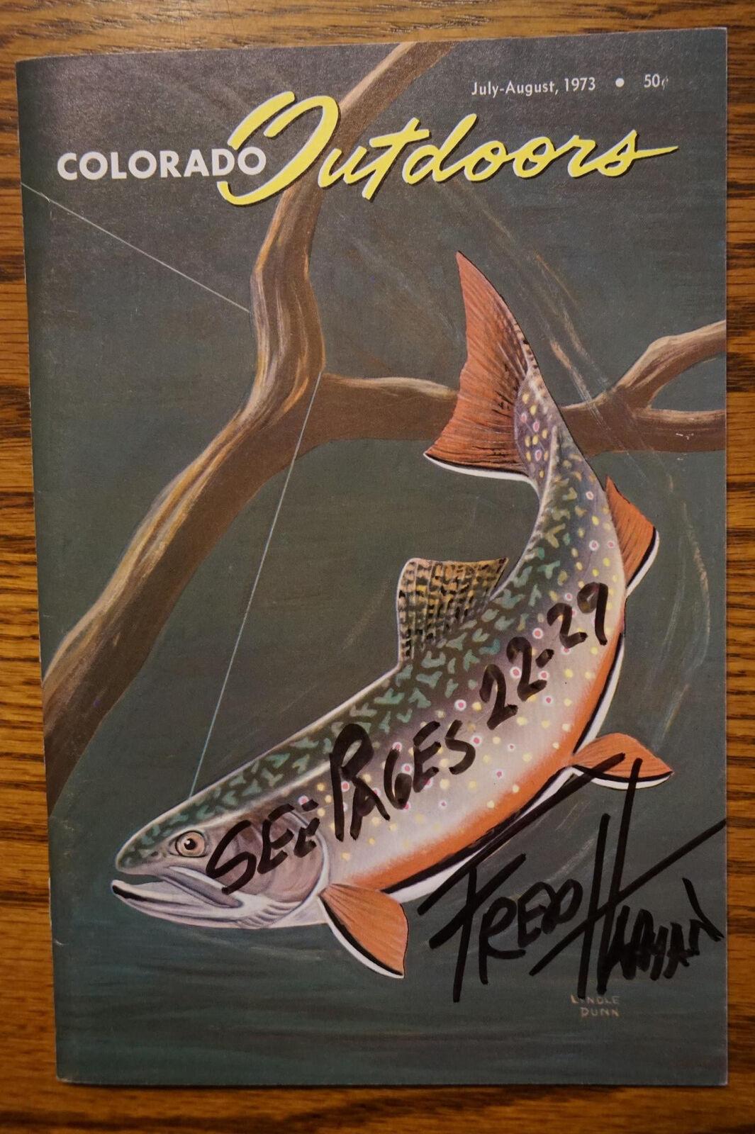 Firmado Frojo Harman  rojo Ryder artista vaquero  1973 Colorado Al Aire Libre Pesca Mag