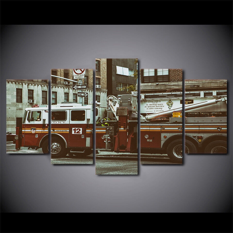 The Fire Truck Of FDNY 5 Piece Canvas Print Wall Art