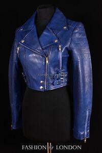 femmes-VOGUE-Bleu-Delave-peau-d-039-agneau-court-createur-MOTARD-real-leather-veste