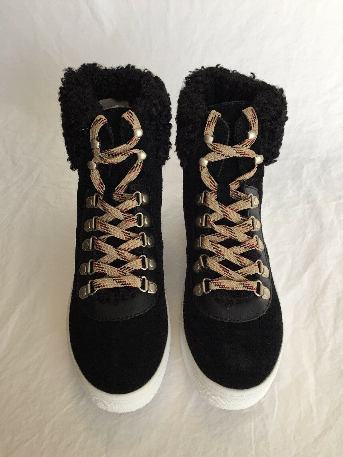 59dd4e48470f Sam Edelman Luther Black Faux Shearling Suede High Top SNEAKERS Shoes Size  7.5 M for sale online
