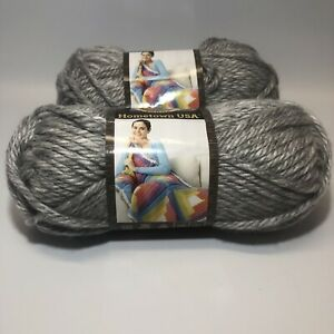 Lion-Brand-Hometown-USA-Springfield-Silver-Super-Bulky-Yarn-Lot-Of-2-Acrylic