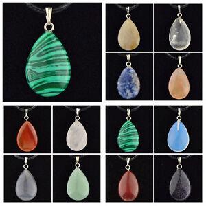 LOTS-12-PCS-Natural-Stone-Solid-Drop-Pendant-Necklace-Wholesale