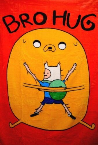 "Adventure Time Bro Hug 50"" x 60"" Micro Raschel Throw Blanket, NEW UNUSED"