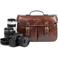 PU Leather Men Women DSLR Camera Shoulder Bag Messenger Bag For Canon Nikon Sony