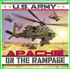 Ande Rooney Army Apache Helicopter Porcelain on Steel Sign AF