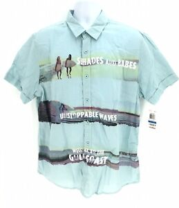 Bar III Short Sleeve Button Up Shirt Mens XL T-Shirt New Shades & Babes