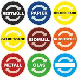 Aufkleber Mülltonne Mülleimer Recycling Sticker RESTMÜLL PAPIER GELBER SACK uvm.