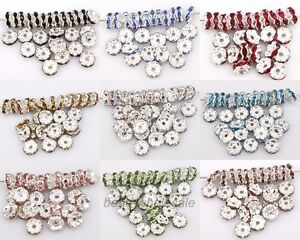 100pcs-Silver-Plated-Crystal-Rhinestone-Spacer-Beads-8mm-for-Jewelry-Making