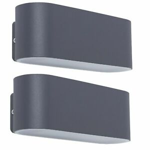 LED-Mains-Powered-Contemporary-Oval-Grey-Entrance-Door-Wall-Light-2-Pack
