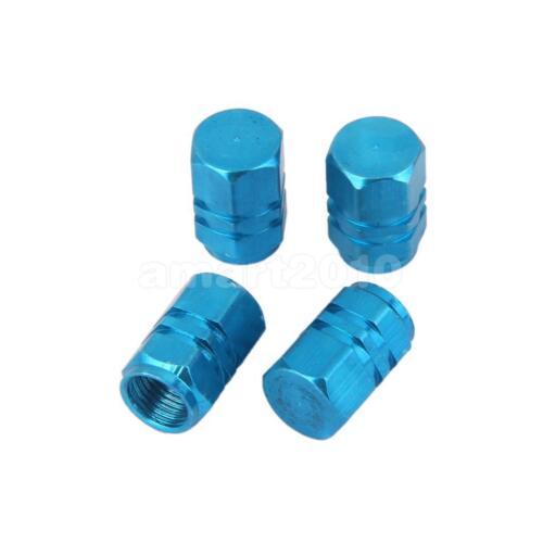 4X Red Wheel Tyre Tire Valve Stems Air Dust Cover Screw Caps Car Truck Blue