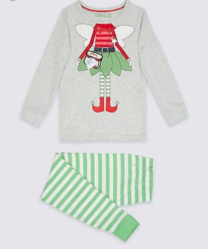 Ex M/&S Girls Christmas Fairy Elf Stripe Christmas Xmas Pyjamas Age 9 12 18 24