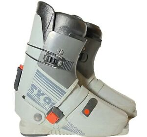Vintage-Salomon-SX91-Gray-Rear-Entry-Downhill-Ski-Boots-Size-340-45