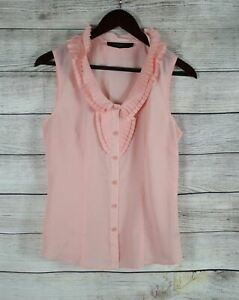 THE-LIMITED-Womens-Pleated-Ruffle-Neck-Sleeveless-Blouse-Top-SMALL