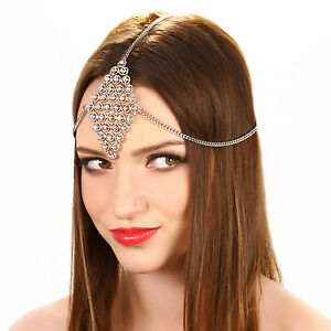 Image Is Loading Layered Crystal Tikka Chain Grecian Headpiece Bridal Prom