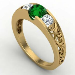 0.98CT Round Cut Green Emerald 14K Yellow Gold Over Engagement Wedding Ring
