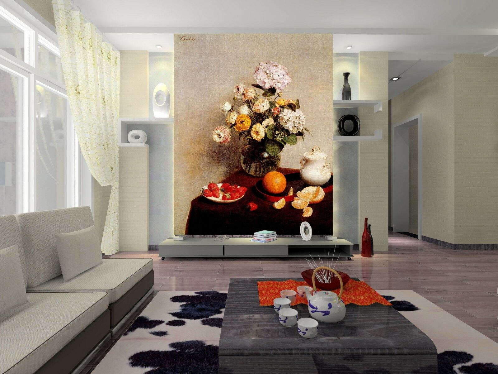 3D Flowers Vase Fruit Teapot Wall Paper Wall Print Decal Wall AJ WALLPAPER CA