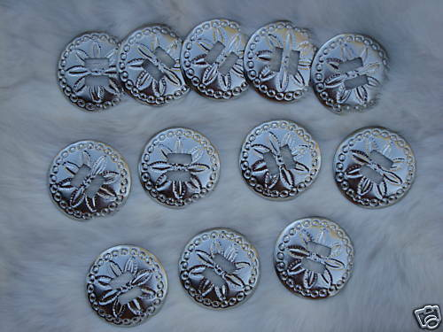 "1 Dz SILVER Round Conchos 1 12"" Across Shiny Daisy Design NEW in Bag"