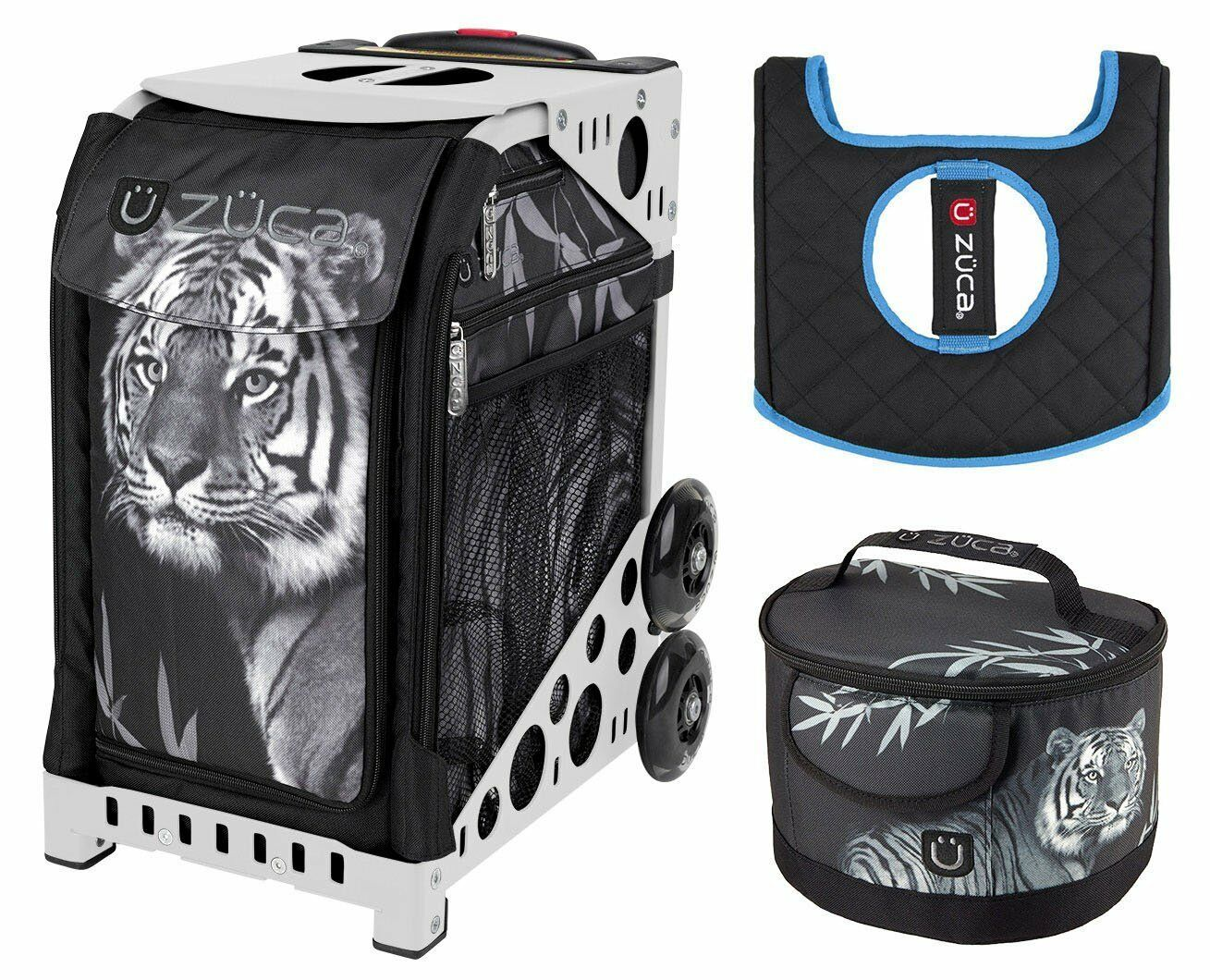 Zuca Bag TIGER Sport Insert and White Frame, GIFT Lunchbox & Seat Cushion
