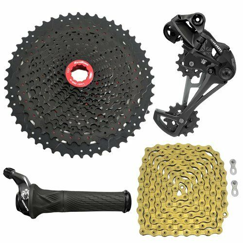 SRAM GX Eagle 12 Spd Groupset YBN Chain gold & SunRace Cassette, Grip Shifter