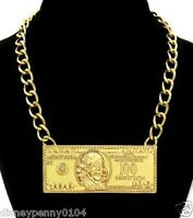 Goldtone $100 Dollar Bill-bold Statement-celebrity Inspired-medium Weight-3 1/2