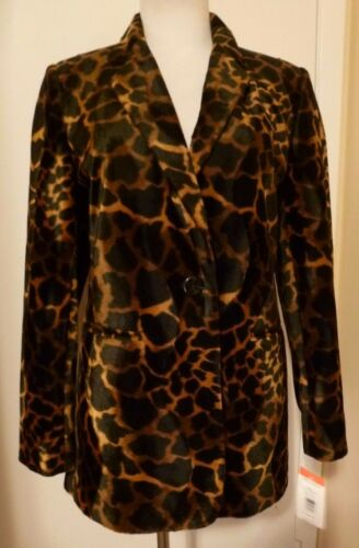 Holtzman Animal 6 786310019207 Size Brown Velvet Print Black Nwt Benard Harve Jacket BxgqX7