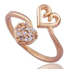 Womens 2 Heart 14K gold filled Clear Crystal adjustable Band Ring Size 5
