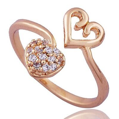 Fancy Womens Heart Ring Cubic Zirconia Yellow Gold Filled Adjustable SZ 8#D7464