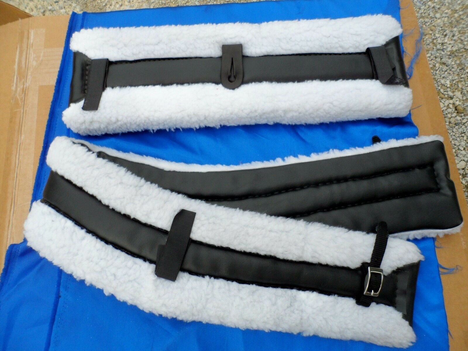 Horse or Mule Fleece Harness Saddle &  Breast Collar Pads Set Amish Made WHITE  for sale online