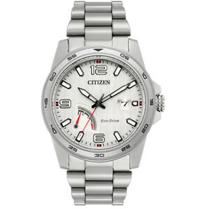 Citizen-Eco-Drive-Men-039-s-AW7031-54A-PRT-Silver-Tone-Bracelet-42mm-Watch