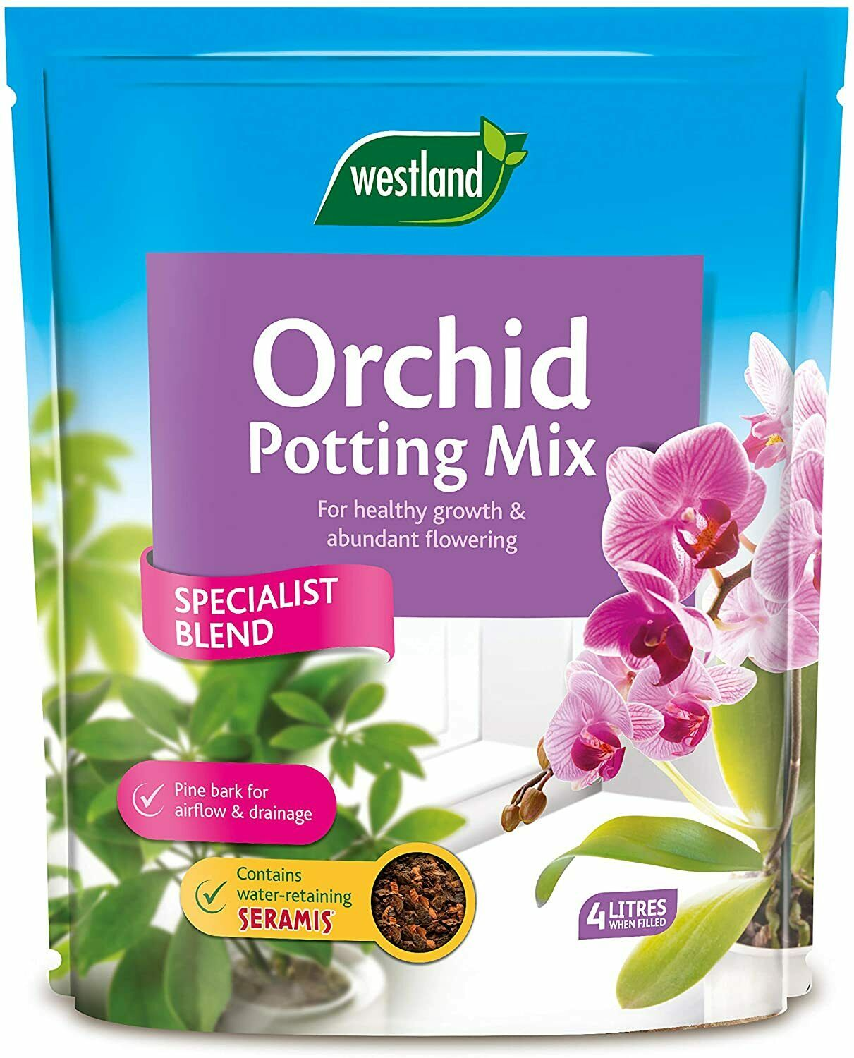 Westland Orchid Potting Compost Mix and Enriched with Seramis, 4 L, Brown
