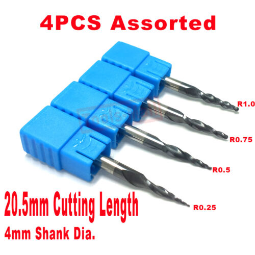 4PCS//lot Assorted R0.25/&0.5/&0.75/&1.0mm Tapered Ball Nose end mills HRC55 Carbide