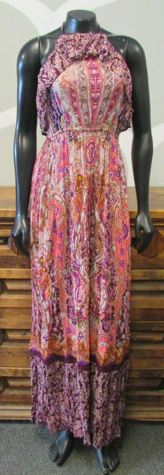 MIAMI Multi color Paisley Print Crinkle Ruffle Halter Top Maxi Dress - Small