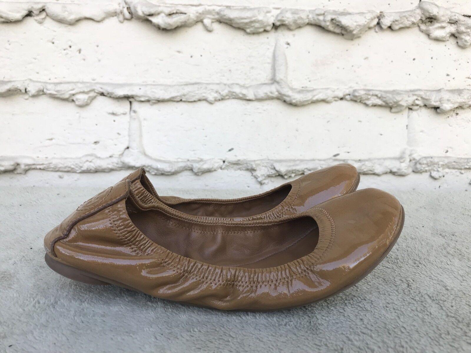EUC Tory Burch EDDIE Tan Patent Leather Slip on Ballet Flats Women Size US 6 M