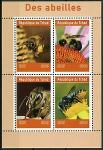Chad-2019-estampillada-sin-montar-o-nunca-montada-abejas-4v-M-S-Abejas-Insectos-Flores-Naturaleza