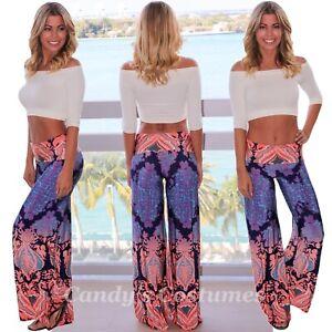 x Beautiful PALAZZO Beach PANTS Stylish CASUAL Patterned WIDE Leg STRETCH Waist