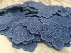 10pcs blue Flower Venise Lace Applique Trims Embroidery DIY Craft Sewing Dress