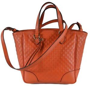 5a79e4d1fa40c5 Details about New Gucci Women's 449241 Orange Leather Small Bree GG  Guccissima Crossbody Bag