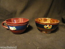 Antique Dark  Blue Copper Luster Bowl and Tea Cup Applied Decorationss