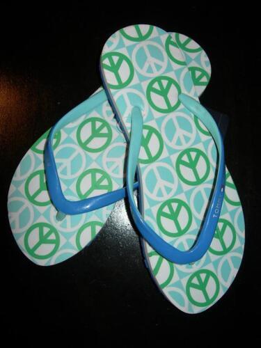 Tommy Hilfiger Piper Women/'s Flip Flops Blue//Green W Peace Sign SZ 6 LAST PAIRS