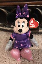 """TY Beanie Baby - Disney Sparkle MINNIE MOUSE Purple Dress Plush Stuffed 9"""""""