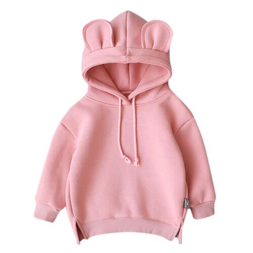 Toddler Baby Kids Boy Girl Hooded Cartoon 3D Ear Hoodie Sweatshirt Tops Clothes