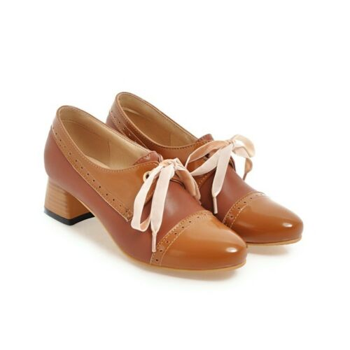 NEW Women/'s Vintage elegant Round Toe lace Up Middle Block Heel Shoes Size 8