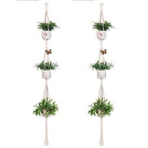 3-tier-macrame-plante-cintre-fleur-porte-pot-corde-suspendu-mural-art-decoration
