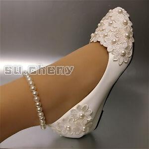 Su-cheny-Weisse-Spitze-Perlen-Fusskette-Blumen-Keil-Flache-Hochzeit-Braut-Pumps
