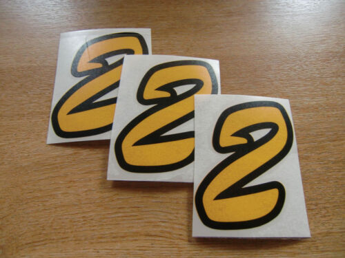 Black /& Yellow number 2 decals set of 3 95mm high stickers