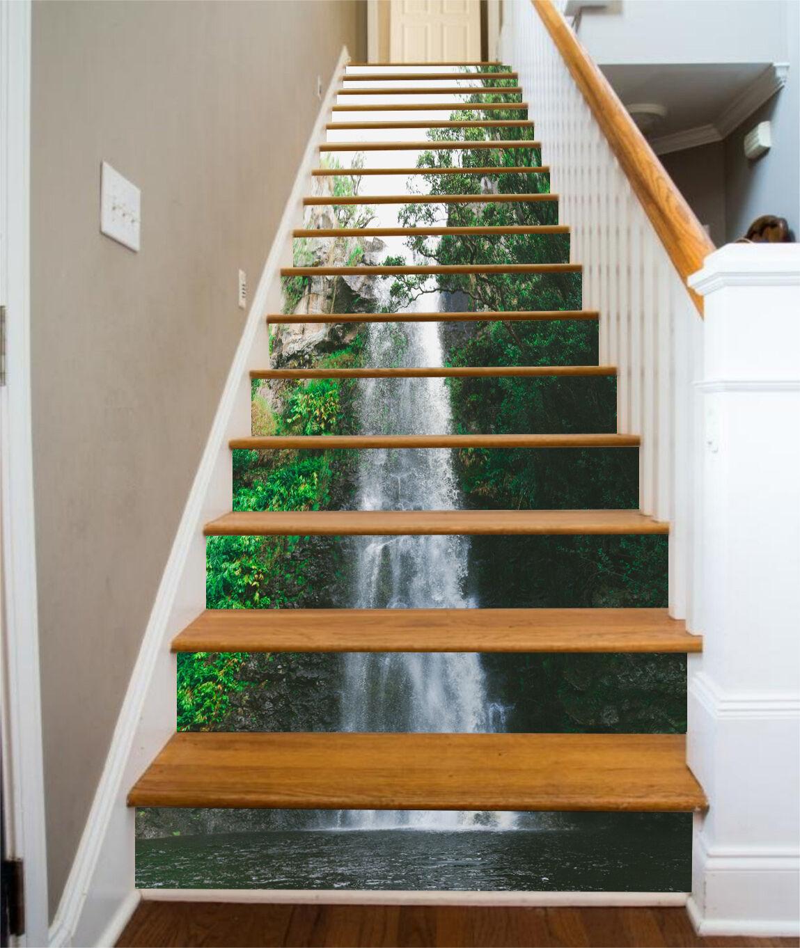 3D Hills Waterfall 1530 Risers Decoration Photo Mural Vinyl Decal Wallpaper CA