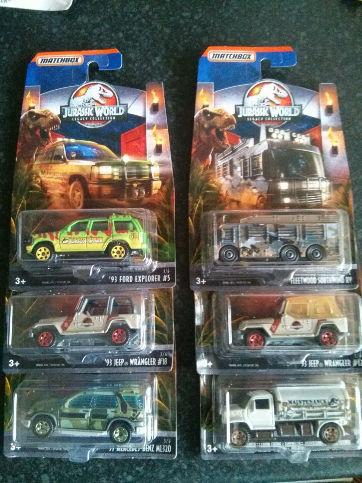 Matchbox Jurassic World Legacy Collection - Full Set of 6. MOC