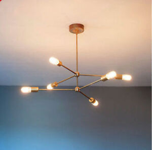 Image Is Loading Mid Century Br Atomic Chandelier Light Ing 6